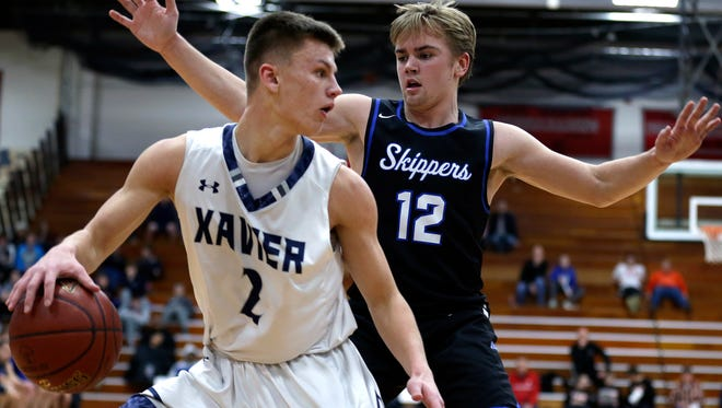 Appleton Xavier is the lone unanimous selection in the Associated Press state boys basketball poll with 10 first-place votes in Division 3. Hunter Plamann looks for an opening during the Border Battle tournament in January.