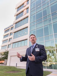 Kaweah Delta CEO Gary Herbst leads a media tour of Kaweah Delta's expansion on Friday, April 20, 2018. Windows on the 5th and 6th floors are signs of ongoing construction.