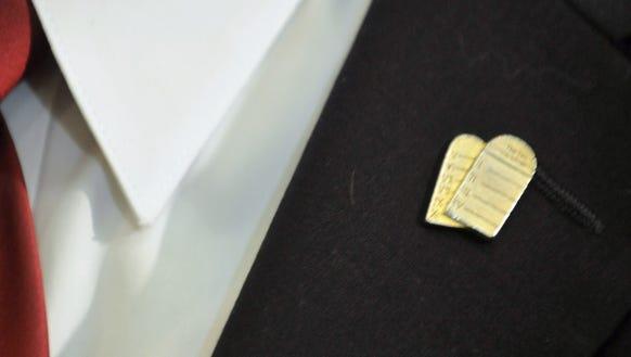 Roy Moore sported a Ten Commandments pin on June 1,