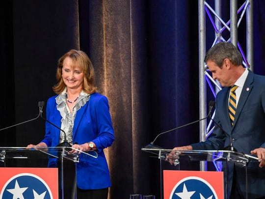 Republican GOP Candidates Beth Harwell and Bill Lee are introduced to the crowd for the debate series at the Pope John Paul II High School in Hendersonville, Tenn., Wednesday, June 20, 2018.