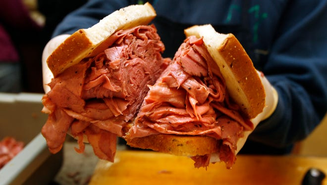 A corned beef sandwich,  one of several thousands made.