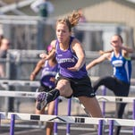 Lakeview senior Hannah Emery competes in the hurdles at the All-City Track Meet at Lakeview on Friday.