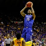 Feb 10, 2015; Baton Rouge, LA, USA; Kentucky Wildcats forward Willie Cauley-Stein (15) shoots over LSU Tigers forward Jarell Martin (1) during the first half of a game at the Pete Maravich Assembly Center. Mandatory Credit: Derick E. Hingle-USA TODAY Sports