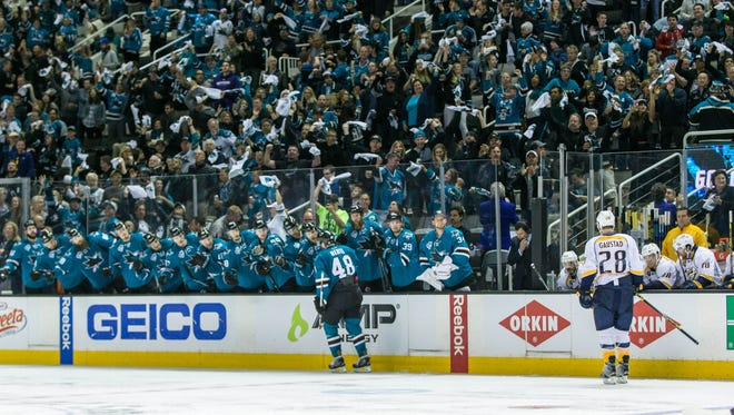 San Jose Sharks center Tomas Hertl (48) celebrates with teammates after scoring a goal against the Nashville Predators in the third  period of Game 1 of the Western Conference semifinals on April 29, 2016. San Jose won 5-2.