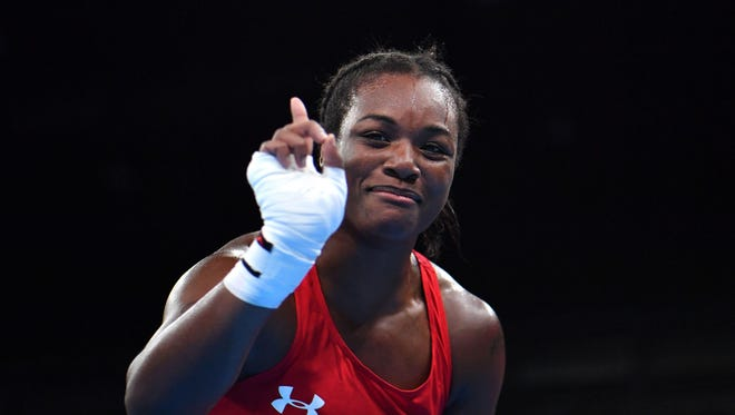 The United States' Claressa Shields will fight for her second straight gold medal today.