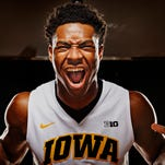 Iowa freshman forward Ahmad Wagner poses for a portrait during the men's basketball media day in Iowa City on Wednesday, October 7, 2015.