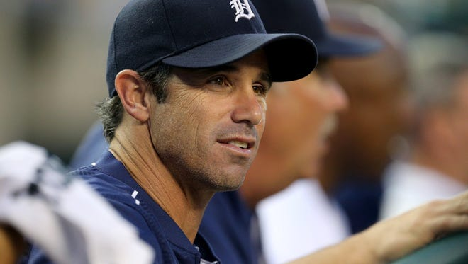 The Detroit Tigers manager Brad Ausmus watches from the dugout during action against the Tampa Bay Rays on Tuesday, Sept. 8, 2015, at Comerica Park in Detroit.
