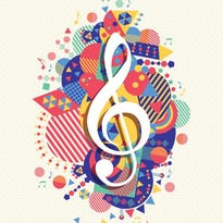Music note icon g treble clef concept color shape