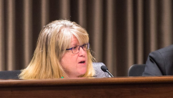 Mandy Stone in October 2017. The former Buncombe County manager — and longtime employee, previously serving as assistant manager and director of health and human services — pleaded guilty Dec. 21 to conspiracy to defraud the federal government. She, along with former Buncombe managers Wanda Greene and Jon Creighton, were indicted in August for an alleged kickback scheme with a longtime county contractor.