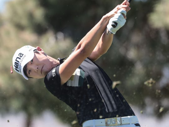 Sung Hyun Park tees off on 17 during the second round