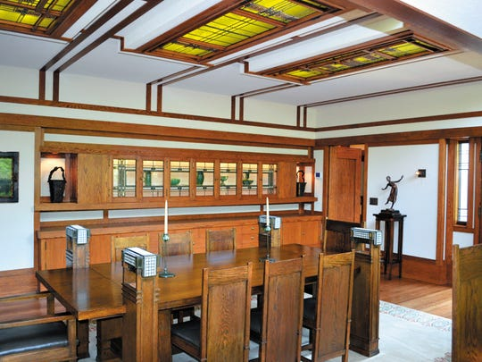 The dining room at the Boynton House, designed by Frank Lloyd Wright.