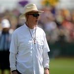 Green Bay Packers general manager Ted Thompson looks on during training camp practice at Ray Nitschke Field on Saturday, Aug. 15, 2015.