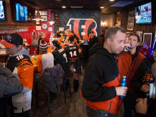 Bengals fans gather inside Kitty's Sports Grill to watch the Bengals versus the Rams Nov. 29. Who Dey is often a cheer used to cheers a great play or victory.