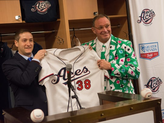 Reno Aces president Eric Edelstein introduces Jerry Narron as the teams next manager at a news conference Wednesday at Greater Nevada Field.