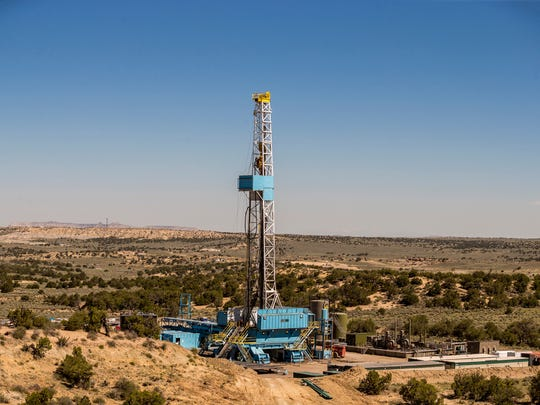 A photo of the Cyclone #32 rig taken three miles southeast of the Nageezi Post Office on Saturday, June 10, 2017. The rig accomplished a new WPX Energy record for most lateral drilling within 24 hours.