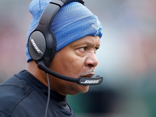 Head coach Jim Caldwell of the Detroit Lions looks