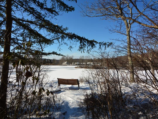 The view from the bench at Jordan Pond creates a serene spot.