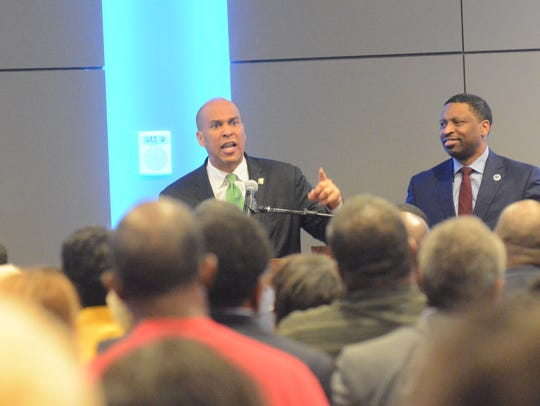 Sen. Cory Booker, D-N.J., speaks at the Mississippi Civil Rights Museum in Jackson Saturday, Feb. 24.