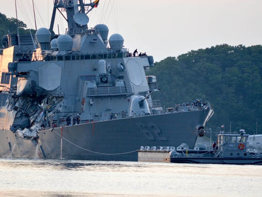 The Arleigh Burke-class guided-missile destroyer USS