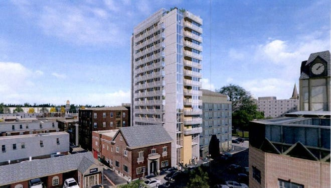 A rendering submitted to the city shows the proposed 14-story tower that would fill the site of the former Van Patten House at 7 S. Linn St.