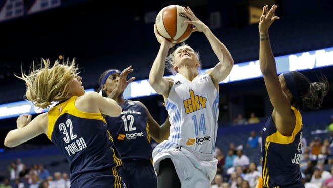 Chicago Sky guard Allie Quigley (14) goes to the basket against the defense of Indiana Fever's guard Jeanette Pohlen (32), center Lynetta Kizer (12) and guard Briann January, right, during the first half of Game 3 of the WNBA basketball Eastern Conference semifinals, Monday, Sept. 21, 2015, in Rosemont, Ill. (AP Photo/Kamil Krzaczynski)