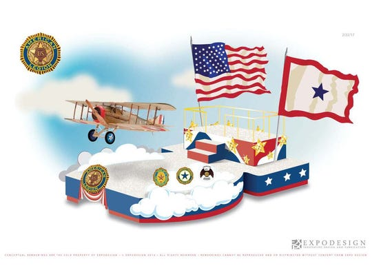 """The American Legion's 2017 IPL 500 Festival Parade float, """"Accelerating Our Legacy."""""""