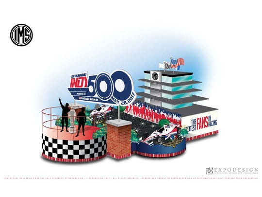 """Indianapolis Motor Speedway's float entry in the 2017 IPL 500 Festival Parade, """"The Greatest Fans in Racing."""""""