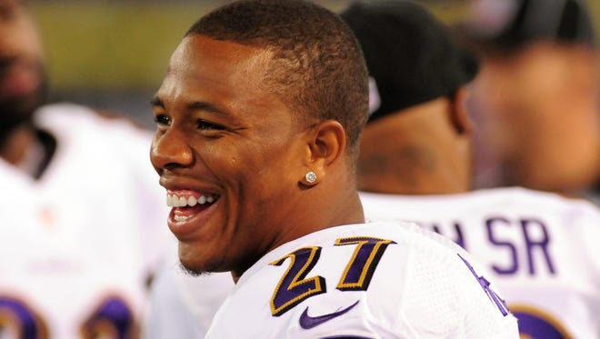 Ray Rice rushed for 6,180 yards in six seasons with the Ravens.