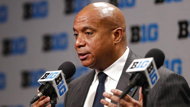 Big Ten Commissioner Kevin Warren addresses the media March 12 in Indianapolis.