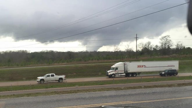 A Terry man captured a picture of a funnel cloud from the Britches and Boots parking lot.
