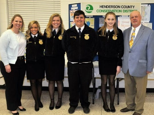 The Land Judging Team from Henderson County High School. They are pictured with their teacher, Hannah Clifton, far left and John Denton, from the Henderson County Conservation District board, far right.