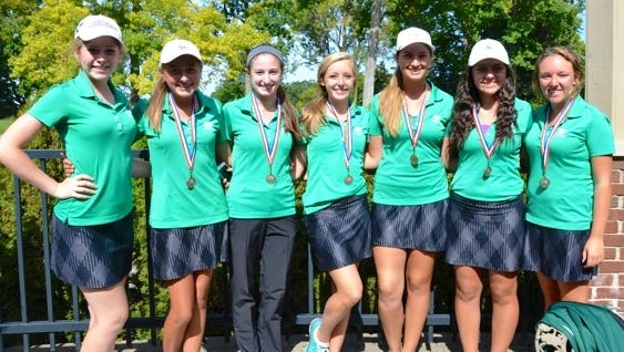 Members of the first-place Novi girls golf team include (from left): Claire Kalina, Abby Livingston, Madison Kroetsch, Lauren Henry, Maya Grandstaff, Alexa Hatz and Katelyn Henry.