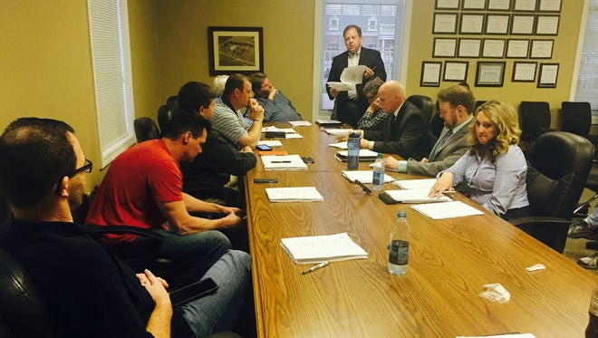 James Kennon with kennon|calhoun WORKSHOP architectural firm speaks to members of the Legislative Committee on Monday in Gallatin.