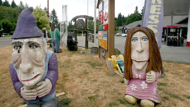 The Kountry Korner gas station and its collection of carved oddities is a landmark in Kingston. The Port Gamble S'Klallam Tribe Bought the complex this summer.