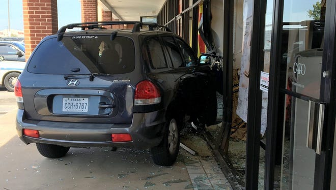 No one was injured Wednesday morning when a Hyundai Santa Fe crashed into the storefronts of Cato Fashions and Shop My Shipment Sales located at Southwest Parkway and Kemp Boulevard.