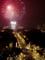 Fireworks burst in the sky over the Philadelphia Museum