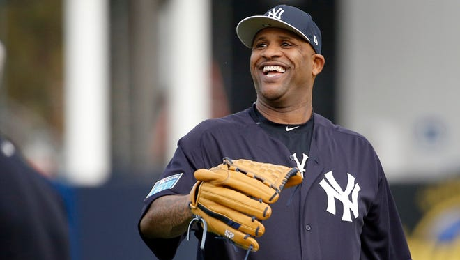 Feb 13, 2018; Tampa, FL, USA; New York Yankees starting pitcher CC Sabathia (52) smiles as he works out as pitchers and catchers arrive for spring training at George M. Steinbrenner Field.
