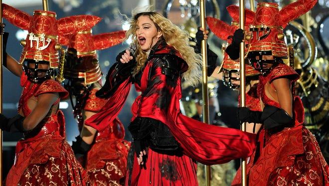 """Madonna performs during her """"Rebel Heart"""" tour at Bridgestone Arena Monday Jan. 18, 2016, in Nashville, Tenn."""