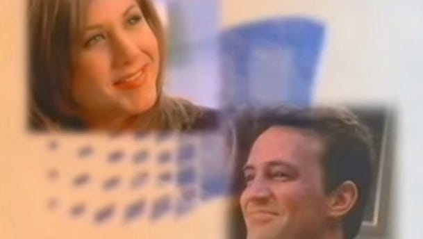Jennifer Aniston, left, and Matthew Perry in a Windows 95 instructional video.