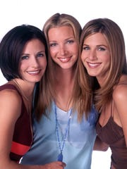 """Girl Squad! Jennifer Aniston invited female """"Friends"""" and cast mates Courteney Cox (left) and LIsa Kudrow (middle) to her recent wedding. Her male cast mates weren't in attendance."""