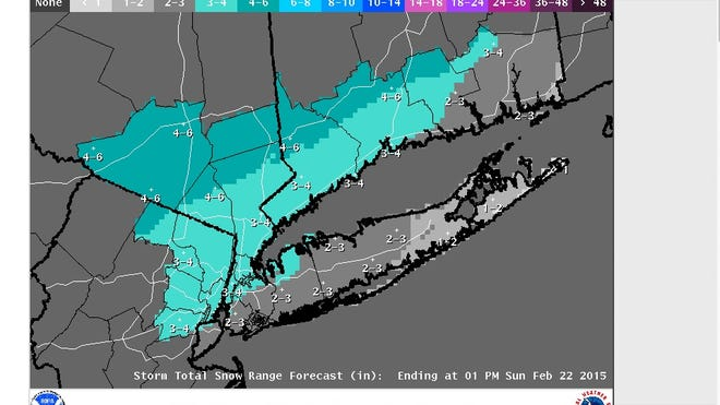 Projected snowfall on Saturday in a National Weather Service map posted Friday morning, Feb. 20, 2015.