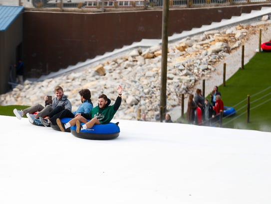 The new Snowflex tubing hill at Wolfe Mountain celebrated