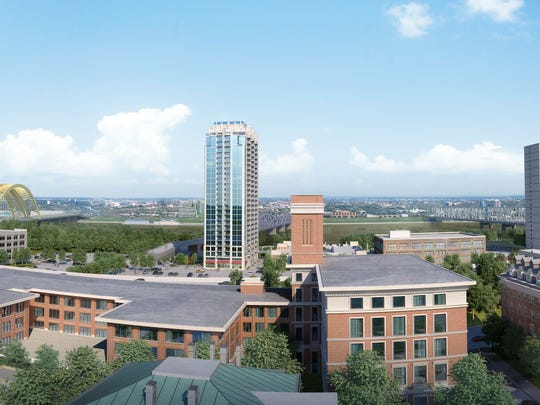 A view of the proposed 25-story SkyHouse building in Cincinnati looking toward the Ohio River.