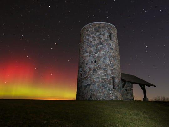 The Northern Lights shine over Pilot Knob State Park
