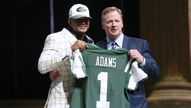 Jamal Adams (LSU) poses with NFL commissioner Roger Goodell (right) as he is selected as the number 6 overall pick to the New York Jets in the first round the 2017 NFL Draft at the Philadelphia Museum of Art on Thursday night.