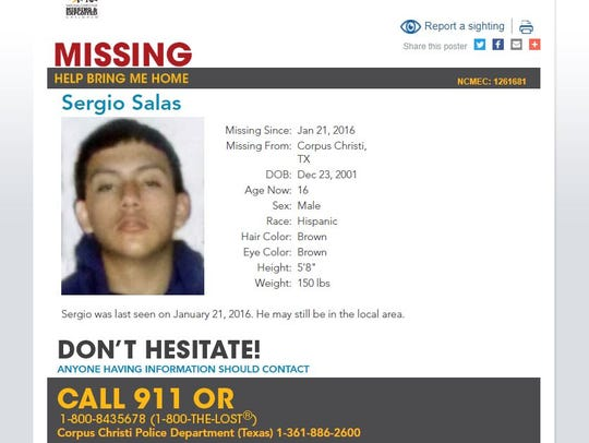Sergio Salas, 16, was last seen June 2016. He may still