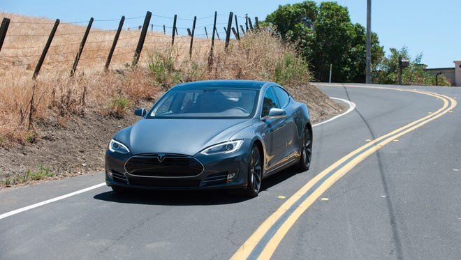 The new Model S Tesla out for a test drive in the hills above Fremont, California, where the Tesla factory is located.