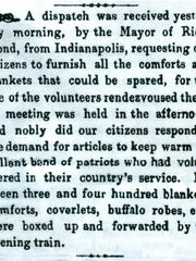 The April 4, 1861, Broad Axe of Freedom attests to the zeal of local residents helping Civil War soldiers.