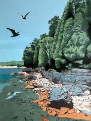 """""""Shoreline,"""" screen print by Joseph Cook, part of the"""
