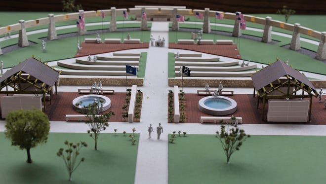 A model depicts the expansion planned for Dyess Memorial Park. The model was on display during a news conference Tuesday to announce the fundraising goal of $550,000 had been surpassed.